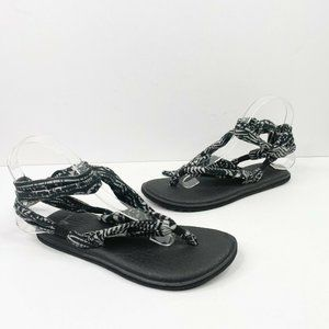 Sanuk Yoga Slinged Up Tie Sandals US 7 Black White